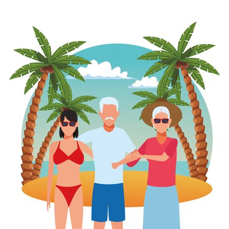 avatar couple and woman wearing bikini in the beach over white background, colorful design. vector illustration