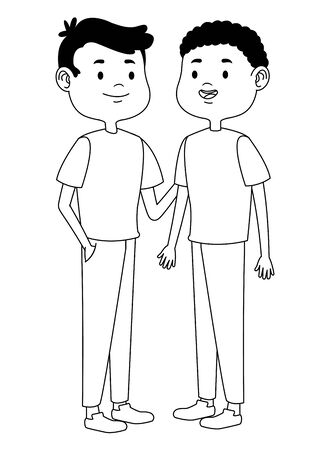 Teenagers male two friends greeting and smiling with casual clothes cartoons ,vector illustration graphic design. Vecteurs