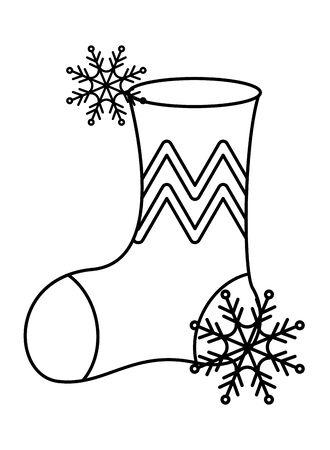 merry christmas sock decorative icon vector illustration design Çizim