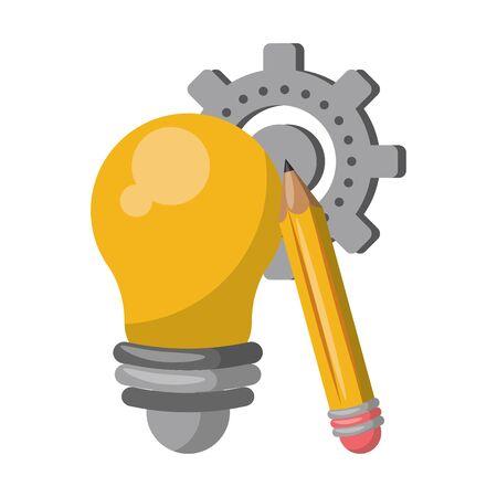 Bulb light and pencil with gear cartoon vector illustration graphic design Ilustração