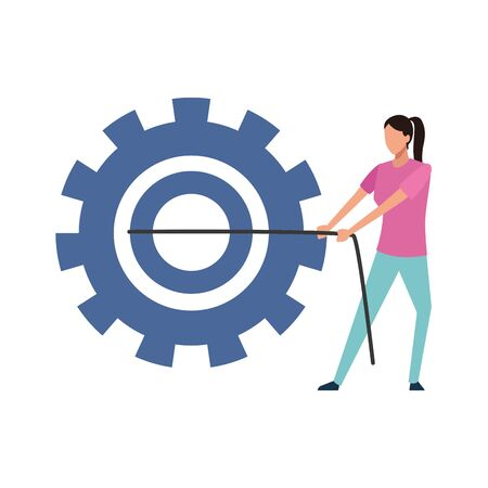 avatar woman pulling gear icon over white background, vector illustration