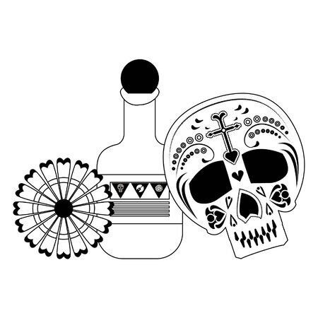 Mexico day of death celebrations skull tequila and flower cartoons vector illustration graphic design