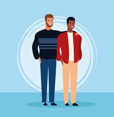 cartoon male friends standing over blue background, colorful design. vector illustration Иллюстрация