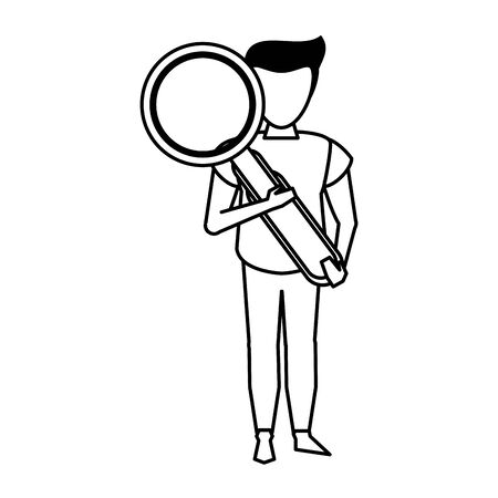 young man holding magnifying glass cartoon vector illustration graphic design Ilustrace