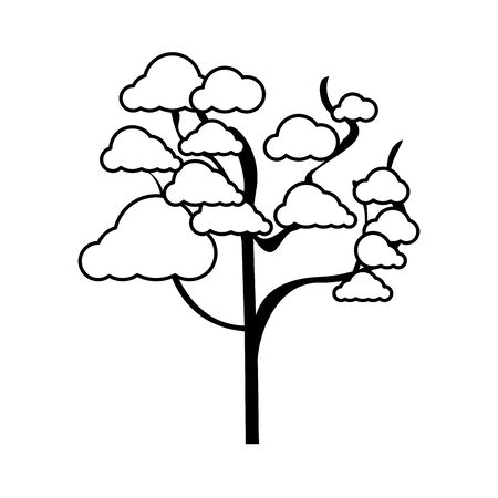 tree icon flat over white background, vector illustration