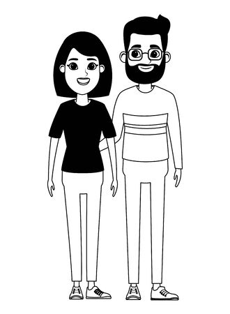 couple avatar man with beard and glasses and woman with short hair profile picture cartoon character portrait in black and white vector illustration graphic design Illusztráció