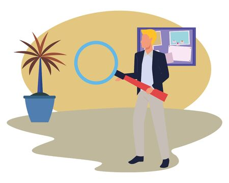 Executive businessman holding magnifying glass in the office with corkboard and plant pot ,vector illustration graphic design.