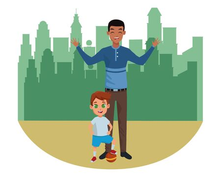 Family single father and little son smiling cartoon in the city urban scenery background ,vector illustration graphic design.