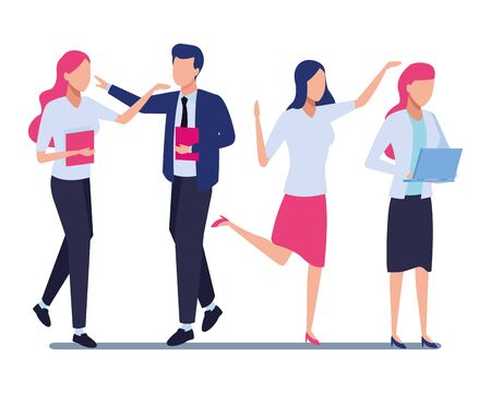 Four business partners working with office supplies colorful isolated faceless avatar vector illustration graphic design