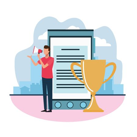 smartphone and trophy and avatar businessman using a megaphone over white background, colorful design , vector illustration Ilustracja