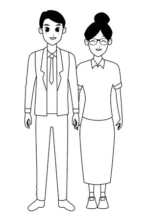Family old mother with adult son smiling and greeting vector illustration graphic design Ilustracja