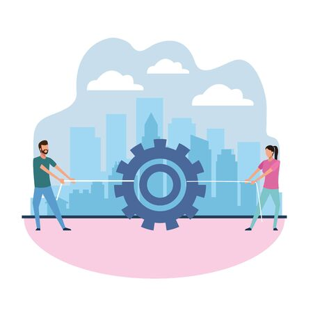 avatar man and woman pulling a gear wheel, teamwork concept, colorful design , vector illustration