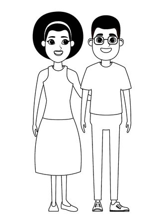 couple avatar man wearing glasses and afroamerican woman wearing bandana profile picture cartoon character portrait in black and white vector illustration graphic design
