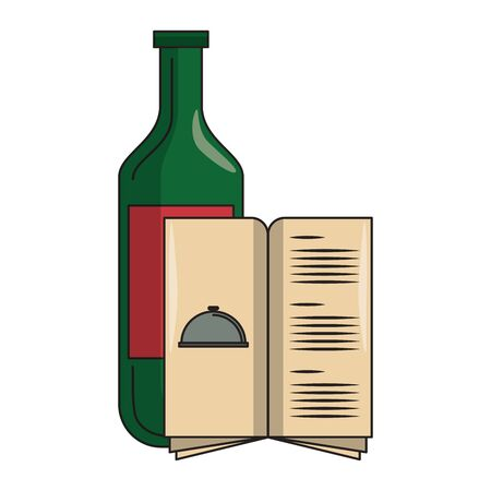 restaurant food and cuisine bottle with wine and menu icon cartoons vector illustration graphic design Ilustracja
