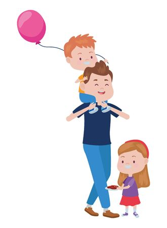 young father with kids and balloon helium vector illustration design