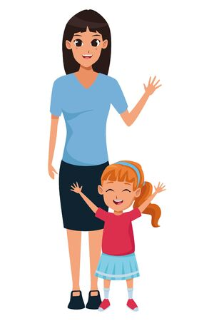 Family single mother with little daughter cartoon