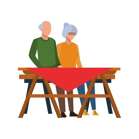 old couple sitting on a picnic table icon over white background, vector illustration