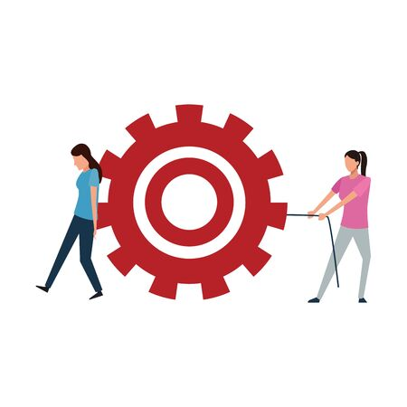 teamwork concept of two women with big wheel over white background, vector illustration