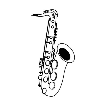 classical instruments, saxophone icon over white background, vector illustration 向量圖像