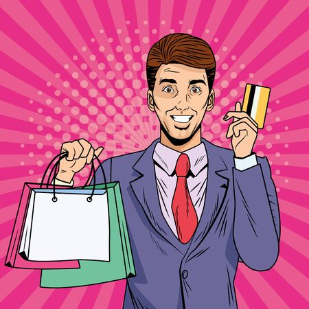 businessman with shopping bags and credit card pop art style vector illustration design