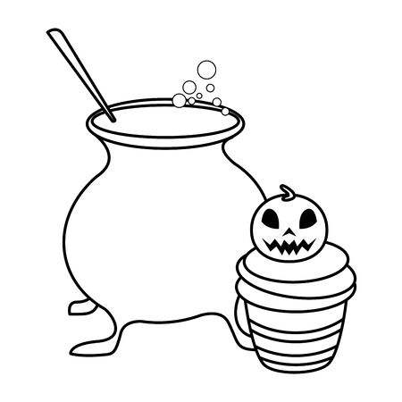 halloween sweet cupcake with witch cauldron vector illustration design