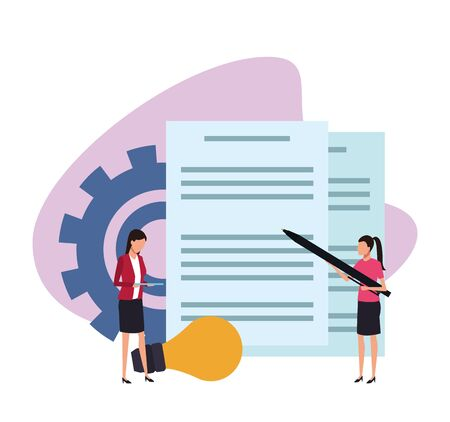 avatar businesswomen with big documents papers over white background, colorful design , vector illustration