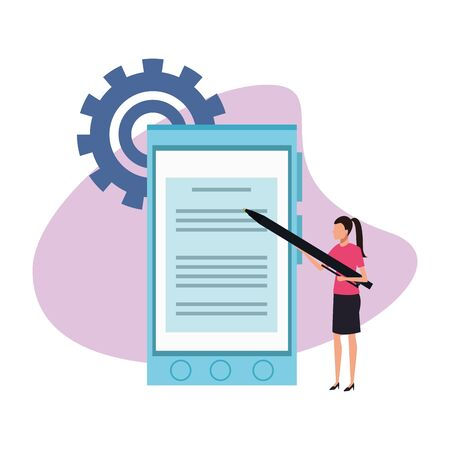 avatar businesswoman pointing with a pen a big smartphone over gear wheel and white background, colorful design , vector illustration