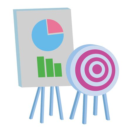 Office elements and business symbols target dartboard and graphs on whiteboard ,vector illustration graphic design.