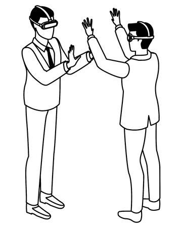 technology men with virtual reality glasses symbols vector illustration graphic design