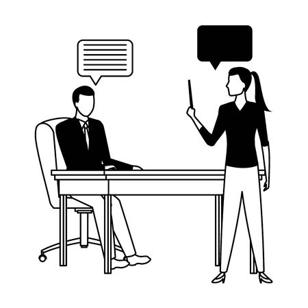 business business people businessman sitting on a desk and businesswoman holding a wand with speech bubbles avatar cartoon character in black and white Ilustracja