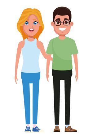 couple avatar man wearing glasses and blonde woman profile picture cartoon character portrait vector illustration graphic design Illusztráció