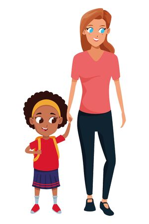 Family single mother with daugther holding school backpack vector illustration graphic design Illustration