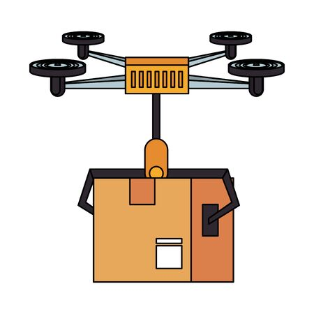 air drone remote control technology device delivery and logistic process with cardboard box cartoon vector illustration graphic design Ilustracja