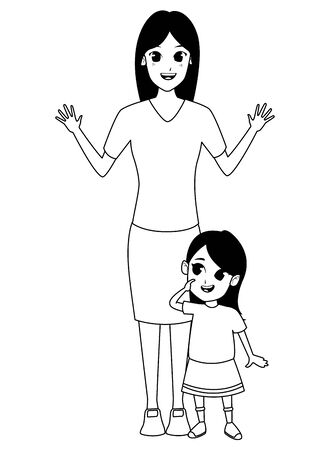 Family single mother with little daughter cartoon vector illustration graphic design Illustration