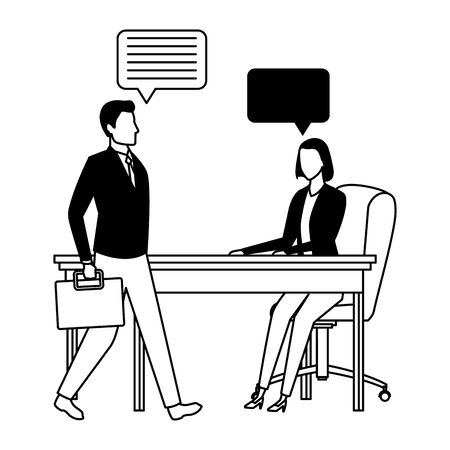 business business people businessman carrying a briefcase and businesswoman sitting on a desk with speech bubbles avatar cartoon character in black and white Ilustracja