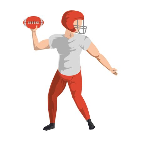 american football sport game player training with ball and wearing helmet cartoon vector illustration graphic design Illustration