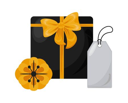 giftbox present with bow and tag vector illustration design Illustration