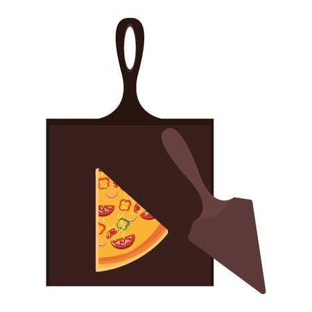 wooden table with pizza slice and server utensil over white background, vector illustration Ilustracja