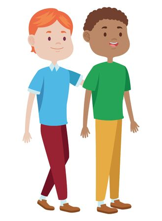Teenagers male two friends greeting and smiling with casual clothes cartoons ,vector illustration graphic design.
