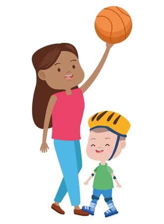 cute mother and son in skates playing basketball vector illustration design