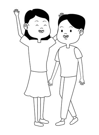 Teenagers women friends greeting and smiling with casual clothes cartoons ,vector illustration graphic design. Illustration