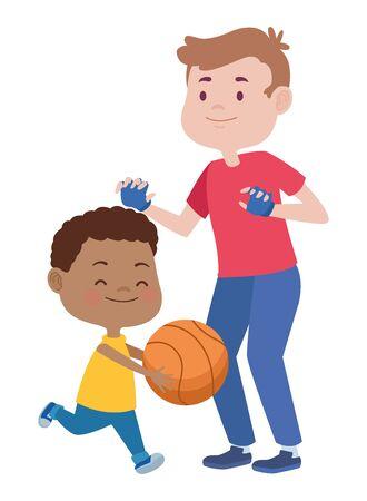 Padre joven con hijo jugando baloncesto, diseño de ilustraciones vectoriales Ilustración de vector