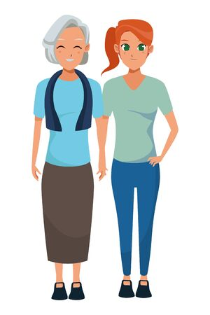 Family old mother with adultt daughter cartoon vector illustration graphic design