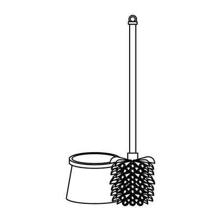 Cleaning toilet brush with pad isolated symbol vector illustration graphic design. Çizim