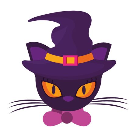 halloween cat with witch hat accessory vector illustration design