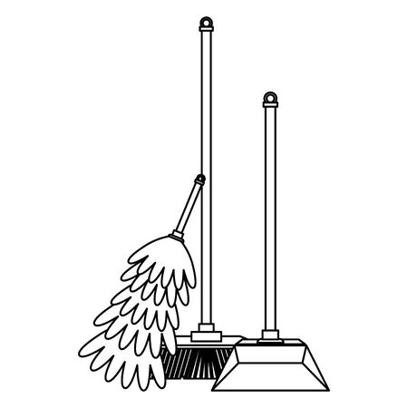 Cleaning equipment and products broom with dustpan and cobweb brush vector illustration graphic design.