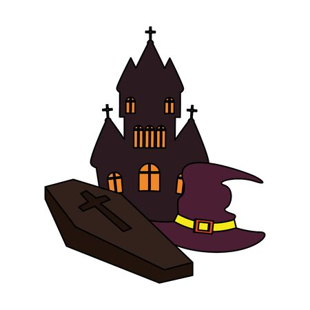 halloween october scary celebration, dark house with stone and witch hat cartoon vector illustration graphic design