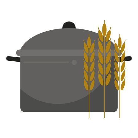 healthy and balanced food wheat with cooking pot cartoon vector illustration graphic design