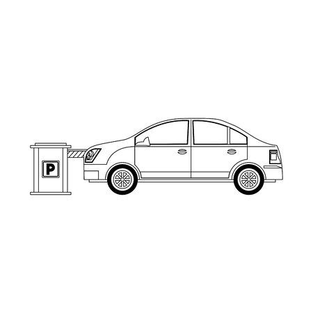 car on a Parking entrance with security barrier over white background, vector illustration 向量圖像