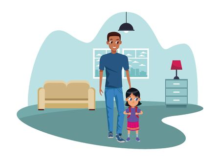 Family single father with kid holding school backpack inside home living room with furniture vector illustration graphic design